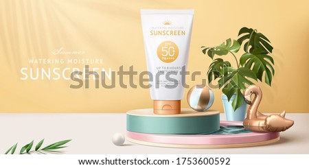 Sunscreen ad template, concept of skin care during summer season, designed with realistic tube mock-up displayed on swimming pool figurine, 3d illustration