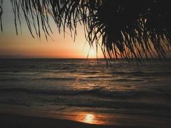 Sunseet at Senggigi Beach, Mataram, Lombok, Indonesia,