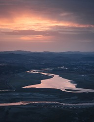 Sunset above a river in Bulgaria