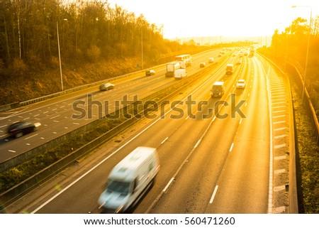 Sunset above British motorway