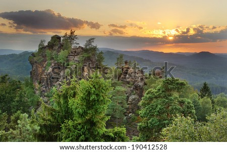 Sunset above the beautiful viewpoint in national park Bohemian Switzerland
