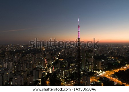 Sunset aerial view in São Paulo, Brazil. Great landscape. Explosion of colors on skyline. Doctor Arnaldo avenue. Business city. Travel destination. Business travel.