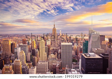 Sunset aerial view of New York City looking over midtown Manhattan towards downtown. #199319279