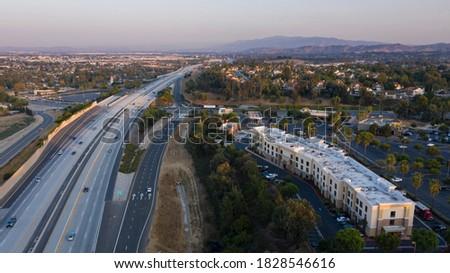 Sunset aerial view of the skyline of Chino Hills, California, USA. Foto stock ©