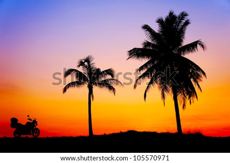 sunset against coconut tree and motorcycle