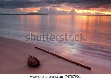 Sunset along Fiji coastline