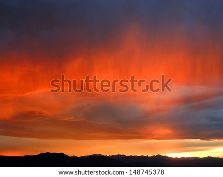 sunset along the  front range, as seen from Broomfield, colorado