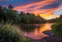 Sunset along the Lehigh River in Walnutport, Pennsylvania U.S.A.
