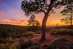 Sunset along the Mogollon Rim near Pinetop-Lakeside in the White Mountains of Arizona.