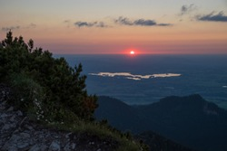 sunset alpine foothills upper bavaria, view to lake staffelsee in the evening, seen from herzogstand mountain