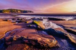 Sunset ambiance on a beach near St. John, New Brunswick