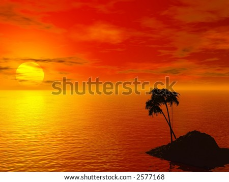 sunset and an island