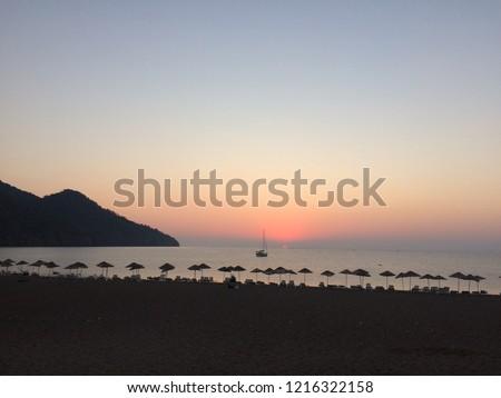 sunset and beach Stok fotoğraf ©