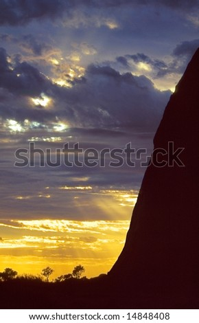 Sunset and cloudscape in Australian outback desert