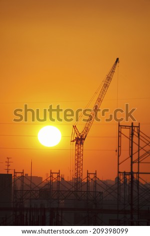 Sunset And Construction Site