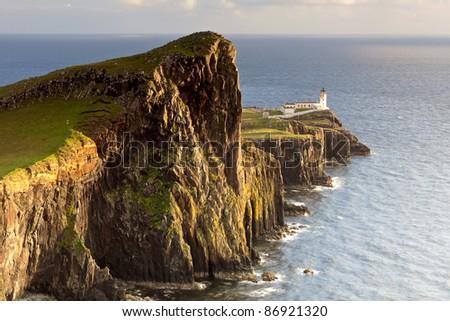 Sunset and Lighthouse at Neist Point, Isle Of Skye, Scotland, UK