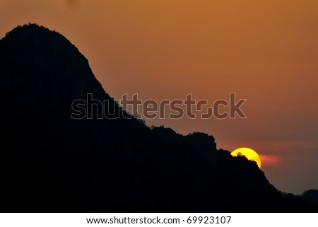 Sunset and mountain