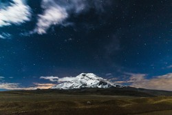Sunset and night in the Andes Mountains, Chimborazo volcano