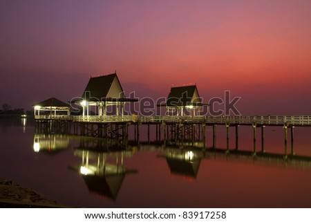 Sunset and pavilion, Phichit Province in Thailand.
