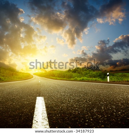 sunset and road