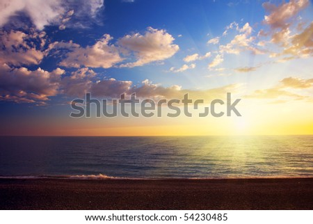 sunset and sea