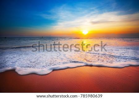 sunset and sea #785980639