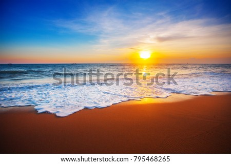 sunset and sea - Shutterstock ID 795468265