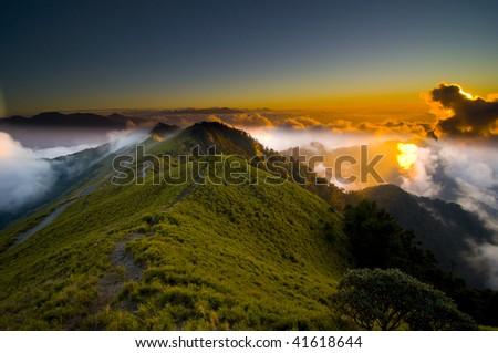 Sunset and Sea of Cloud, Mountain Hehuan, Taroko National Park, Taiwan - stock photo