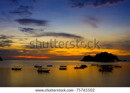 sunset and silhoutte in pangkor island