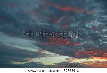 Sunset and sky over the Rio Negro in the Amazon River basin, Brazil, South America