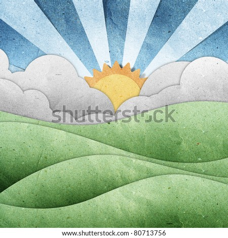 sunset and sunrise view recycled paper craft stick on grunge paper  background