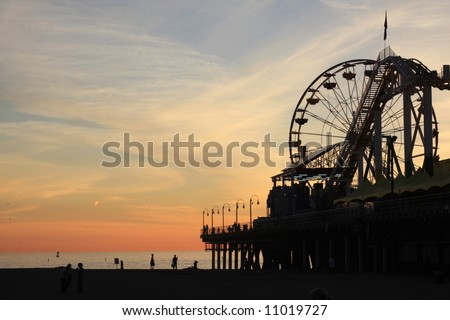 Sunset and the Santa Monica Pier in Southern California - stock photo