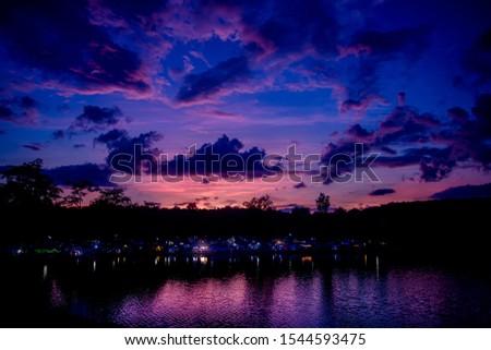Sunset and twilight sky at the kwai noi river,kanjanaburi province,Thailand