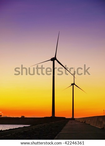 Sunset and wind power generator
