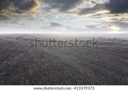 Shutterstock Sunset asphalt asphalt tire marks
