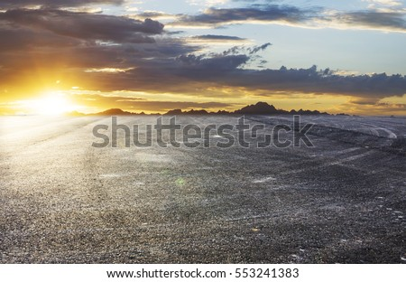 Sunset asphalt asphalt tire marks