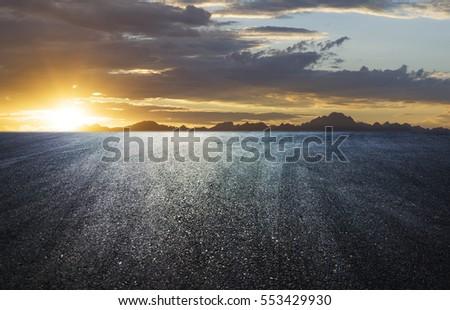 Sunset asphalt asphalt tire marks