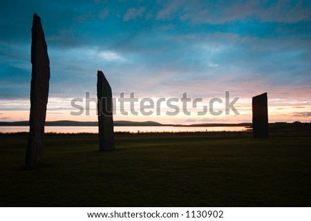 Sunset at ancient standing  Stones of Stennes, Orkney Islands, Scotland.