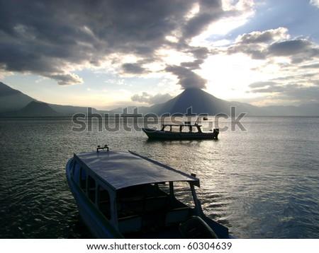 sunset at atitlan lake