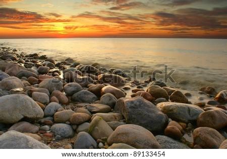 Sunset at Baltic sea. Poland.