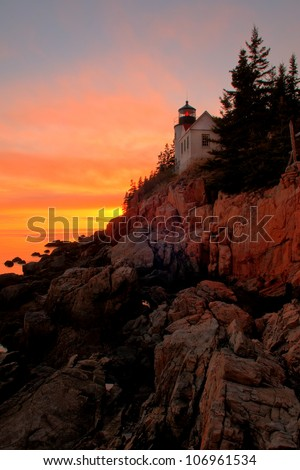 Sunset at Bass Harbor Lighthouse in Bar Harbor, Maine - stock photo