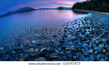 sunset at beach in Juneau