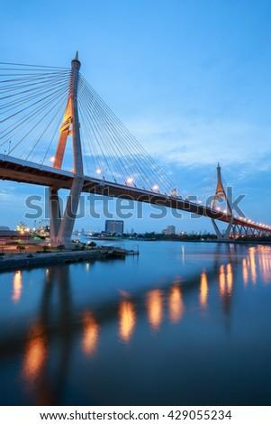 "Sunset at ""Bhumibol 1 Bridge"" cross overpass Chao Phraya River ,Bangkok ,Thailand #429055234"
