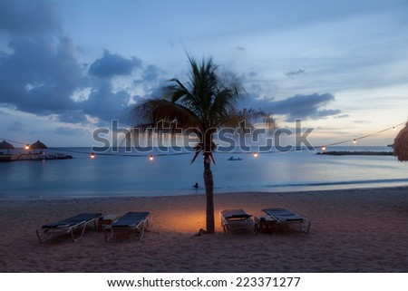 Sunset at Blue Bay Beach Curacao one of the Caribbean ABC islands #223371277