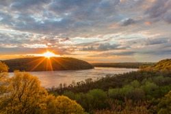 Sunset at breezyview overlook in Columbia Pennsylvania, overlooking the susquehanna river