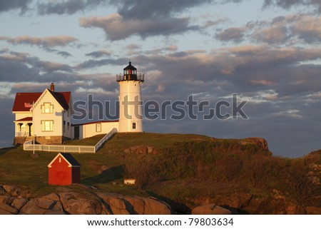 "Sunset at Cape Neddick ""The Nubble"" Lighthouse (built in 1879)"