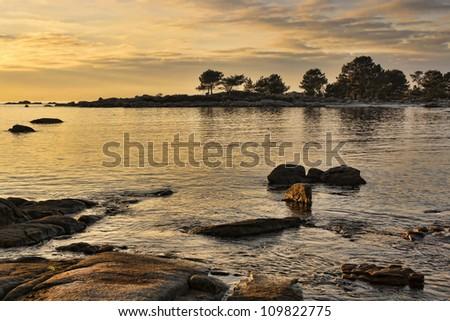 Sunset at Carreiron natural park on Arousa Island