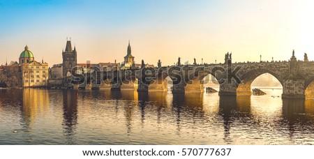 Sunset at Charles Bridge Panorama - Prague #570777637