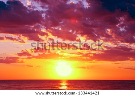 sunset at coast of the sea background
