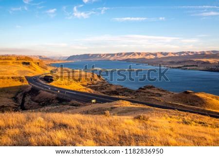 Sunset at Columbia River and Vantage Bridge I-90, Washington-USA